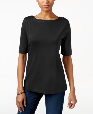 Karen Scott Petite Zip-Detail Boat-Neck Top, Only at Vogily
