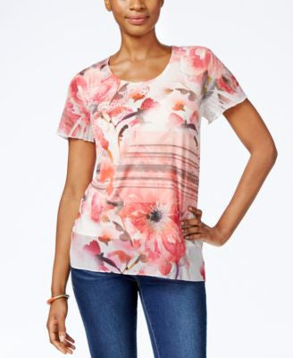 JM Collection Floral-Print Flutter-Sleeve Top, Only at Vogily