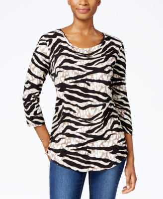JM Collection Three-Quarter-Sleeve Zebra-Print Top, Only at Vogily