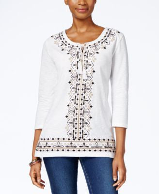 JM Collection Embroidered Three-Quarter-Sleeve Top, Only at Vogily