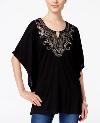 JM Collection Embellished Keyhole Poncho Top, Only at Vogily