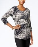 JM Collection Petite Printed Top, Only at Vogily
