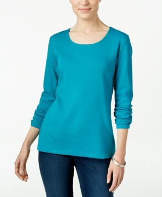 Karen Scott Long-Sleeve Scoop-Neck Top, Only at Vogily
