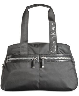 Calvin Klein Brushed Nylon Triple Compartment Satchel