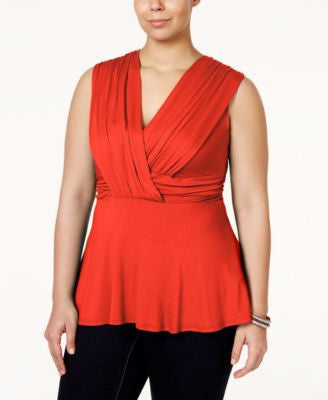 Soprano Plus Size Surplice Peplum Top