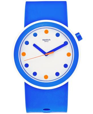 Swatch Unisex Swiss Pop Blue Silicone Strap Watch 41mm PNW103
