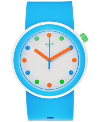 Swatch Unisex Pop Sky Blue Silicone Strap Watch 41mm PNW102