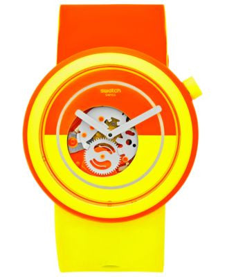 Swatch Unisex Swiss Pop Orange and Yellow Silicone Strap Watch 41mm PNO100