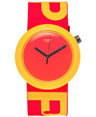 Swatch Unisex Swiss Pop Orange-Red Silicone Strap Watch 41mm PNJ100