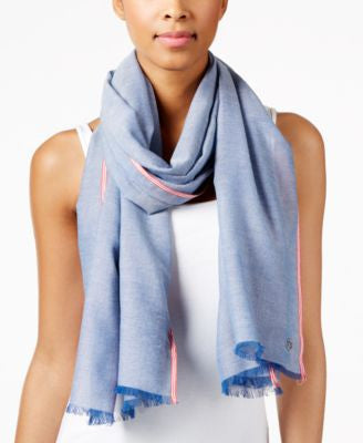 Calvin Klein Border Stripe Chambray Wrap
