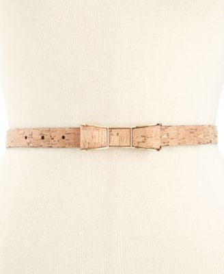 kate spade new york Cork-Print Bow Buckle Skinny Belt