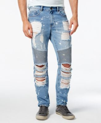 Reason Men's Slim-Fit Light Blue Moto Jeans