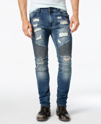 Reason Men's Mulberry Slim-Fit Moto Jeans