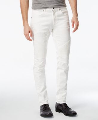 Reason Men's Slim-Fit White Moto Jeans