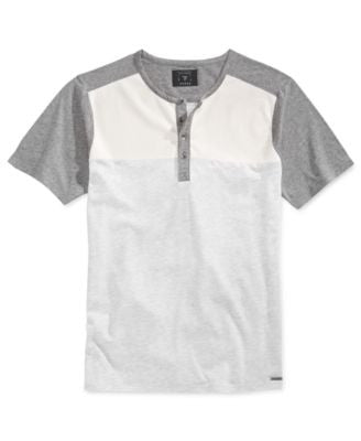GUESS Men's Colorblocked Henley T-Shirt