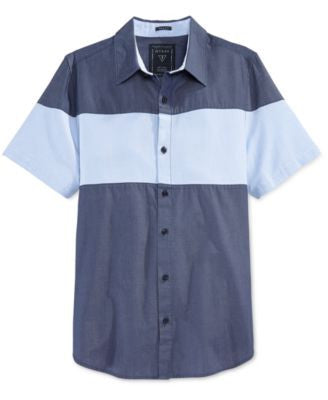 GUESS Men's Short-Sleeve Colorblocked Shirt