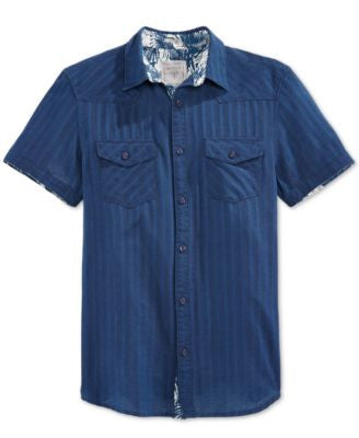 GUESS Men's Short-Sleeve Western-Style Shirt