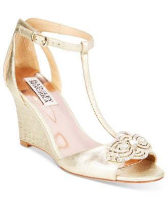 Badgley Mischka Nedra II T-Strap Evening Wedge Sandals