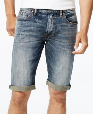 GUESS Men's Classic-Fit Hardware Wash Denim Shorts