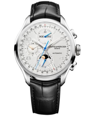 Baume & Mercier Men's Swiss Automatic Chronograph Clifton Black Leather Strap Watch 43mm M0A10278