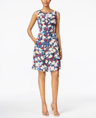 Anne Klein Floral-Print Sleeveless Fit & Flare Dress
