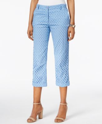 Anne Klein Eyelet Straight-Leg Cropped Pants