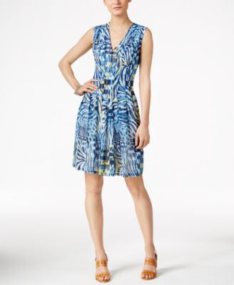Anne Klein Printed Chiffon Sleeveless Fit & Flare Dress