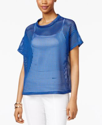 Anne Klein Laser-Cut Scuba-Knit Top