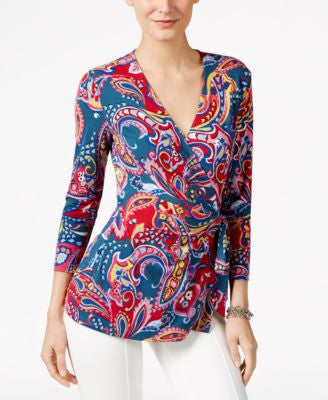 Anne Klein Paisley-Print Faux-Wrap Top
