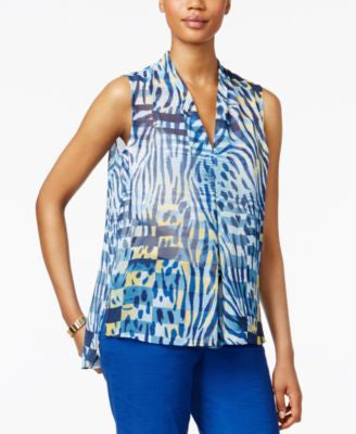 Anne Klein Printed V-Neck Pleat-Front Blouse