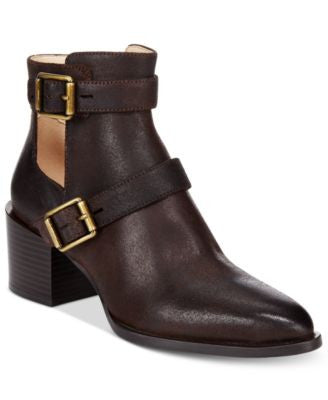 Nine West Evalee Buckle-Trim Block-Heel Booties
