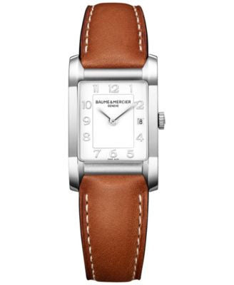 Baume & Mercier Women's Swiss Hampton Light Brown Leather Strap Watch 35x22mm M0A10186