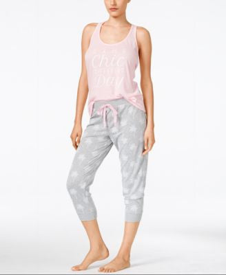 Jenni by Jennifer Moore Printed Tank & Pajama Jogger Pants Sleep Separates, Only at Vogily