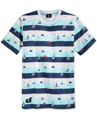 LRG Men's Grand Voyage Graphic-Print Stripe T-Shirt