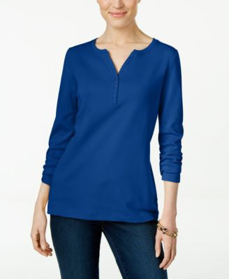 Karen Scott Long-Sleeve Henley Top, Only at Vogily