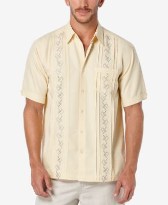 Cubavera Men's Embroidered Pleated Short-Sleeve Shirt
