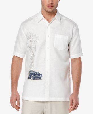 Cubavera Men's Linen-Blend Graphic-Print Short-Sleeve Shirt