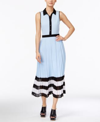 MICHAEL Michael Kors Colorblocked Pleated Midi Dress