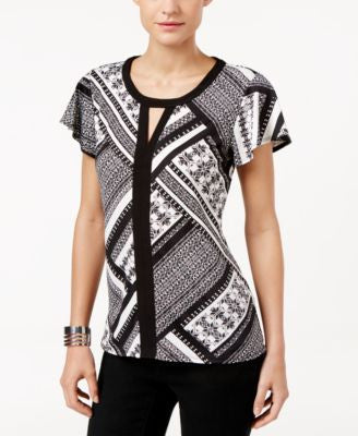 NY Collection Petite Printed Colorblocked Keyhole Top