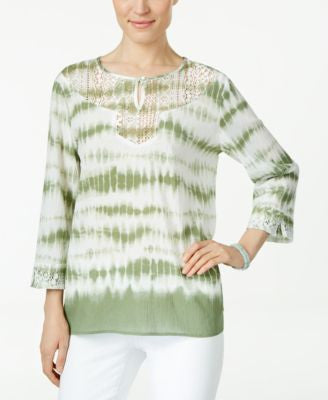 Alfred Dunner Petite Tie-Dyed Lace-Trim Tunic