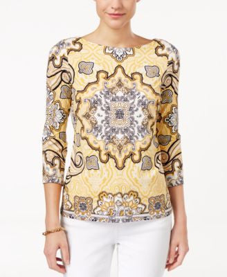 Charter Club Petite Paisley-Print Boat-Neck Top, Only at Vogily