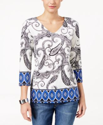 Charter Club Petite Paisley-Print V-Neck Top, Only at Vogily