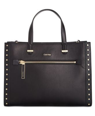 Calvin Klein Premium Leather Studded Convertible Tote