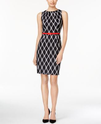 Connected Jewel-Neck Belted Sheath Dress