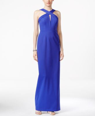 Adrianna Papell Sleeveless Keyhole Cross-Front Gown
