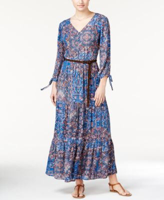 American Rag Three-Quarter-Sleeve Printed Maxi Dress, Only at Vogily