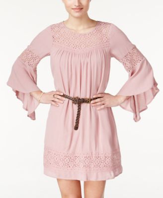 American Rag Lace-Panel Belted Dress, Only at Vogily