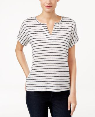 Calvin Klein Jeans Striped Split-Neck Top