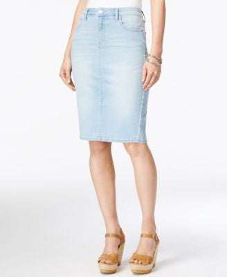 Calvin Klein Jeans Faded Sky Wash Denim Pencil Skirt