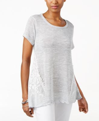 Style & Co. Short-Sleeve Lace-Side Top, Only at Vogily